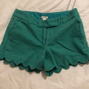 JCrew green scallop shorts size 0